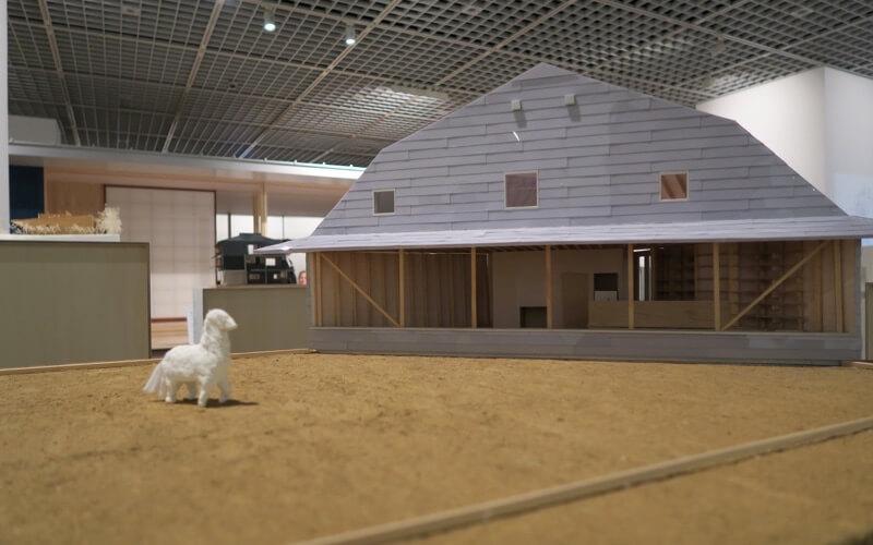 日本の家の動物もいる模型